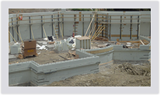 Bracing holds the ICF blocks in place until the concrete is cured