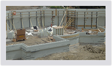 Curved walls can be accomplished using the Advantage ICF Blocks as well